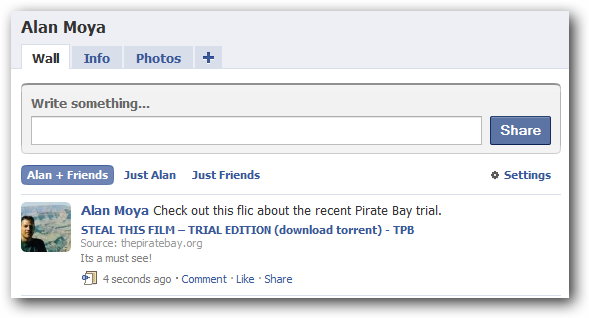 Post torrent tracker links to Facebook...